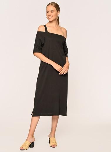 Loves You Tek Kol Yırtmaçlı Supreme Elbise Siyah